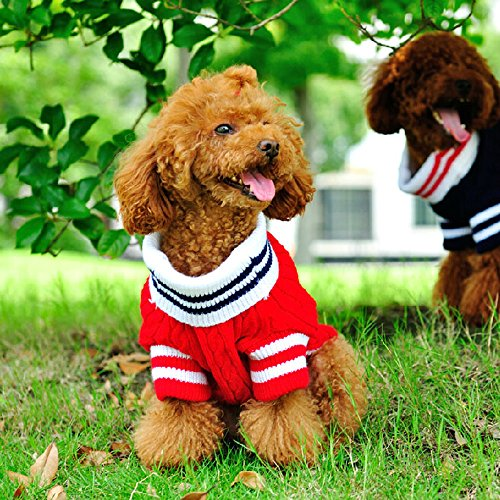Bro'Bear Classic Cable Knit Turtleneck Sweater with Bowknot for Small Dogs & Cats (Red, Small)