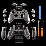 YICHUMY Replacement Controller Housing Shell Full Set Faceplates Buttons for Microsoft Xbox One Controller with 3.5 mm Headset Jack xbox one controller shell kit with 3.5 port (Clear) (Color: Clear)