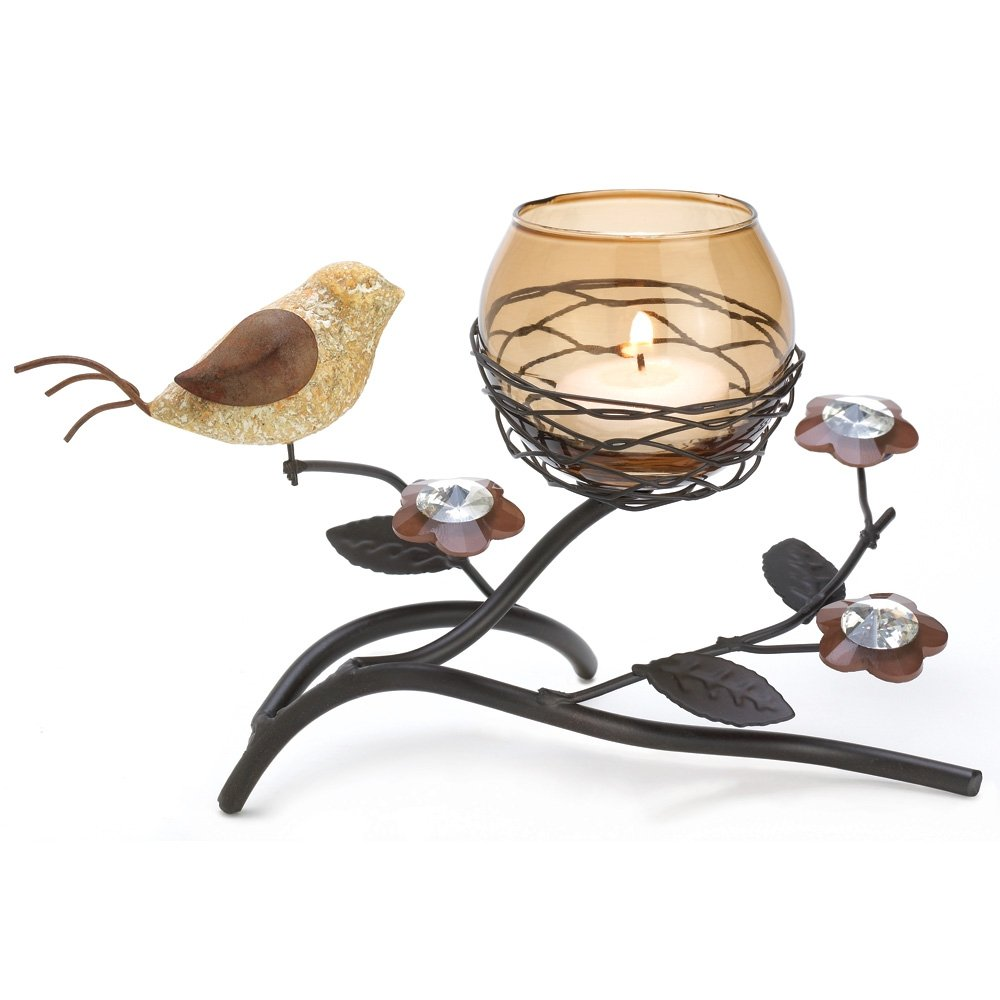 Partridge Bird Nest Branch Motif Tealight Candle Holder