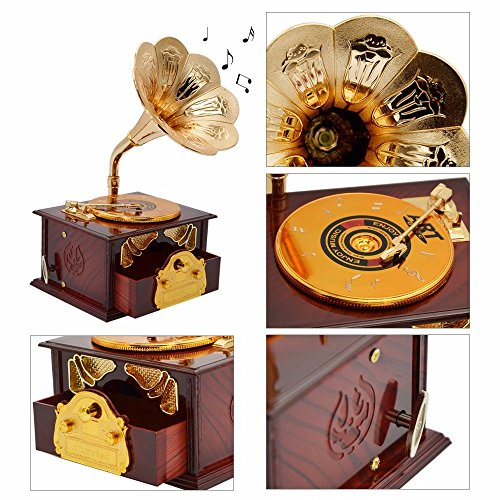 Fding Classical Trumpet Horn Turntable Gramophone Art Disc Music Box & Make up Case &Jewelry Box Home Decor (Brown) 2
