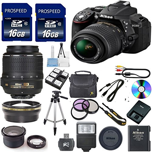 Digideals4less discount duty free Nikon D5300 24.2MP CMOS Digital SLR Camera with 18-55mm f/3.5-5.6G AF-S DX VR Nikkor Zoom Lens + .43x Wide Angle Lens with Macro Attachment + 2.2x Telephoto Lens + High Power Slave Flash + 3pc Deluxe Filter Kit (UV + CPL + FLD) + 32GB Deluxe Accessory Kit