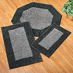 Collections Etc Frisse Two Tone Shag Accent Rugs, 21 X 34, Black