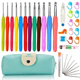 37 PCS Crochet Hooks Set, 2mm(B)-8mm(L) Ergonomic Soft Handle Crochets, Yarn Large Eye Blunt Needles, Stitch Markers Kit with Portable Case - Best Gift for Mom (Tamaño: 37 Pcs)