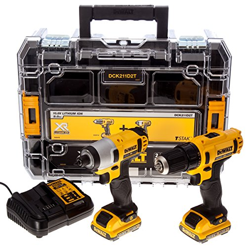 DeWalt DCK211D2T 10.8V Li-ion Cordless Compact Drill Driver and Impact Driver (Twin Pack)