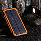 BEST 15000mAh 2ポート 超大容量モバイルバッテリー、ソーラーパネル、二つの充電方法、旅行・ハイキングや地震・災害時が必要なもの (オレンジ)