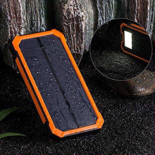 GRDE 15000mAh 2ポート 超大容量モバイルバッテリー、ソーラーパネル、二つの充電方法、旅行・ハイキングや地震・災害時が必要なもの (オレンジ)
