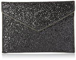 Rebecca Minkoff Leo Envelope Clutch, Glitter Black, One Size