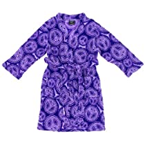 Purple Peace Sign Fleece Bathrobe for Girls L/14-16