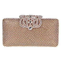 Fawziya Crown Purses And Handbags Evening Bags And Clutches-Gold