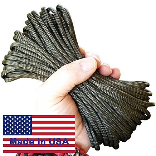 7-Strand OD Green Paracord / Parachute Cord 50 Ft. Hank. 25 Colors, Guaranteed U.S. Made Military Survival Cord, Type III,