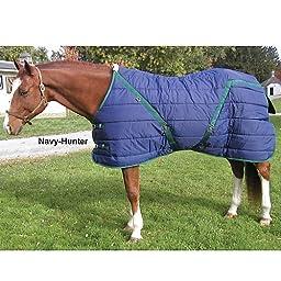 High Spirit Snuggie Pony Stable Blanket, 64-Inch, Blue/Hunter Green