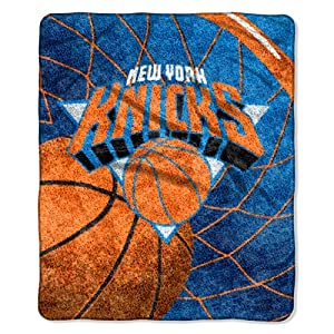 NBA New York Knicks 50-Inch-by-60-Inch Sherpa on Sherpa Throw Blanket Reflect Design by Northwest