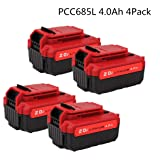 4Pack 20V Max 4.0Ah Lithium PCC685L Replacement Battery Compatible with Porter Cable PCC685L PCC680L Cordless Tools Batteries (NOT for Craftsman) (Color: Black&Red, Tamaño: PCC685L 4.0Ah)