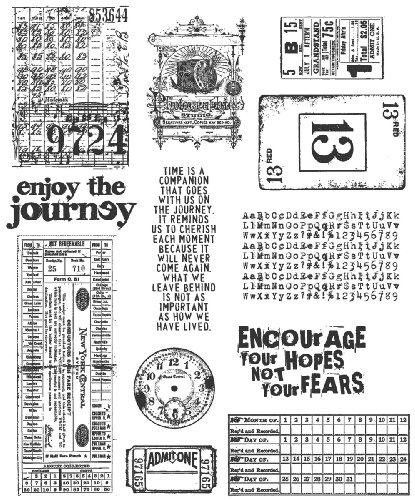 Stampers Anonymous Tim Holtz Large Cling Rubber Stamp Set, Going Somewhere