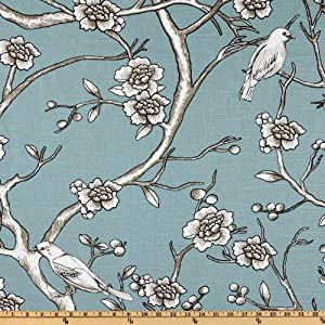 54'' Wide Dwell Studio Vintage Blossom Azure Fabric By The Yard
