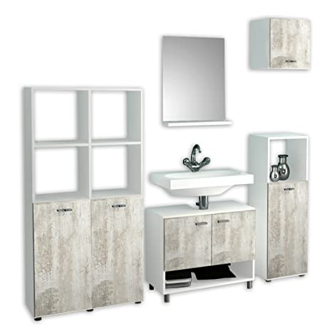 "VCM 5-Piece ""Wesola"" Complete Bathroom Furniture Set, White/Pine"