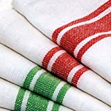 Kitchen Dish Towels with Vintage Design (Size: 25.5 inch x 15.5 inch) Red and Green Stripes