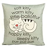 Highsun Happy Sleepy Kitty Print Cat Pillow Cushions Cover 1818 Inches Throw Pillow Cover For Sofa Office Decorative Pillowslip Gift Ideas Household Pillowcase