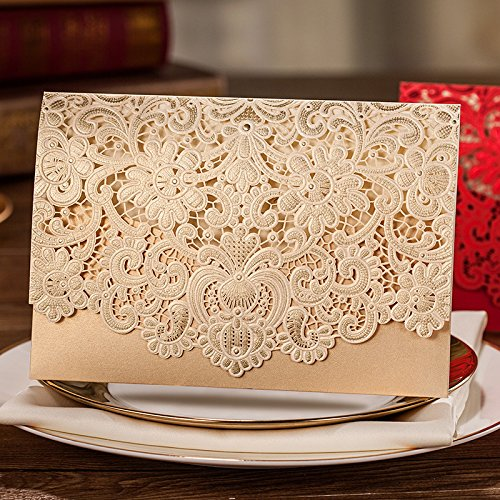 Doris Home 100pcs Gold Horizontal Laser Cut Wedding Invitation with Hollow Flora Favors(set of 100pcs)