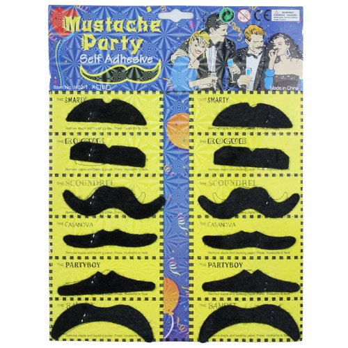 eFuture(TM) 6Pairs Black Fake Mustache for Costume Party Disguise With Keyring
