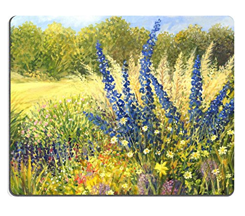 MSD Natural Rubber Mousepad Vibrant wild flowers with beautiful blue Delphiniums in a bright sunny day painted IMAGE 16859890 Stain Resistance Kit Kitchen Table Top Desk Col