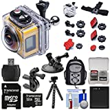 Kodak PixPro SP360 Wi-Fi HD Video Action Camera Camcorder - Aqua Sport Pack + Bike & Suction Cup Mounts + 32GB Card + Battery + Backpack + Tripod Kit