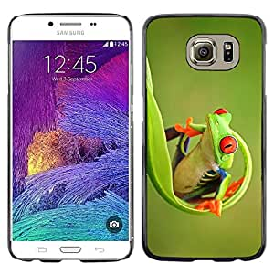 Omega Covers - Snap on Hard Back Case Cover Shell FOR Samsung Galaxy S6 - Green Happy Nature Animal Jungle