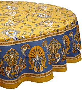 Mahogany Floral Paisley Vine Print Tablecloth, 70-Inch Round, 100-Percent Cotton, Yellow with Blue Border