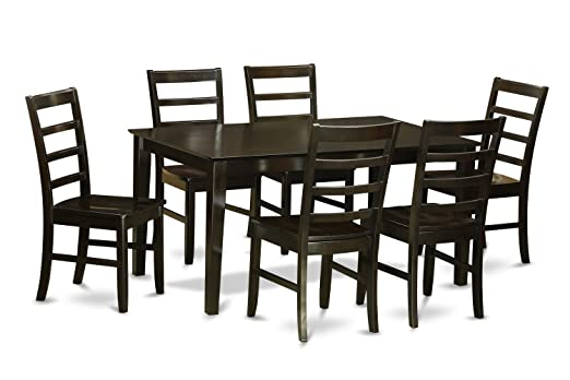 East West Furniture CAPF7-CAP-W 7-Piece Formal Dining Table Set