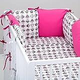 Set de 10 piezas de ropa de cama de beb�: protector de cuna 6 unidades, Edred�n para beb� tama�o grande, con funda de edred�n, funda de almohada, funda de oreiller. seres, color Gris rosa Rose Gris Talla:lit b�b� de 120 x 60