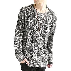 MONO-MART フィッシャーマン ニット セーター クルーネック 起毛 ゆる ケーブル編み 長袖 メンズ
