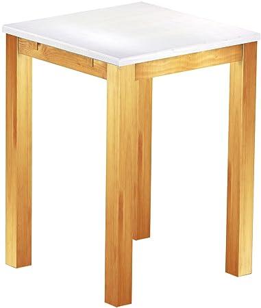 Brasil High Table 'Rio' 80x 80cm, Colour: Snow, Solid Pine Wood Honey