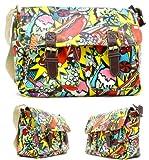 Womens Ladies Girls Comic Hotdog Burger Print Satchel Messenger Shoulder Crossbody Handbags - B62