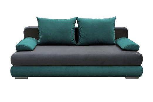 Sofa Celino in grau / turkis mit Bettfunktion und Staukasten– Abmessungen: 205 x 95 cm (L x B)