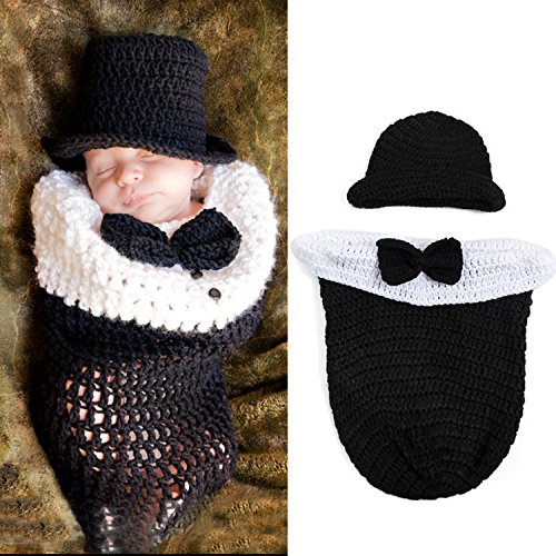 Photography Prop Baby Infant Costume Crochet Knitted Hat Cap Diaper Sleeping Bag