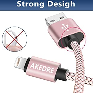 iPhone Charger, AKEDRE 4Pack [10FT 6FT 3FT 1FT] Nylon USB Charging & Syncing Cord Charger for iPhone X/ 8/ 7/ 6s/ 6/ plus/ 5s,iPad, iPod , (Pink)