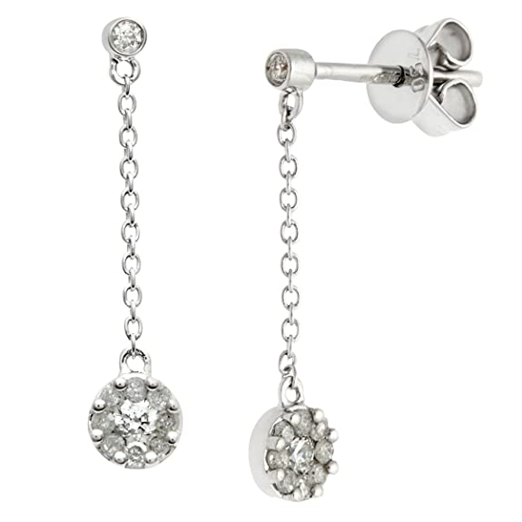 Naava 18 ct White Gold 0.25 ct Diamond Round Drop Earrings