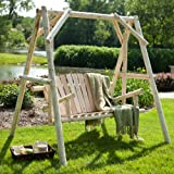 Rustic Natural Log Porch Swing and A-Frame Set