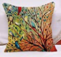 Oil Painting Black Large Tree and Flower Birds Cotton Linen Throw Pillow Case Cushion Cover Home Sofa Decorative 18 X 18 Inch