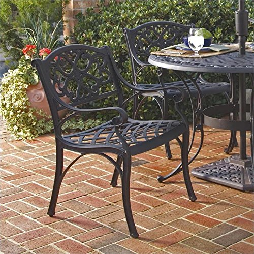 Home Style 5554-802 Biscayne Dining Arm Chair, Black Finish, Set of 2 picture