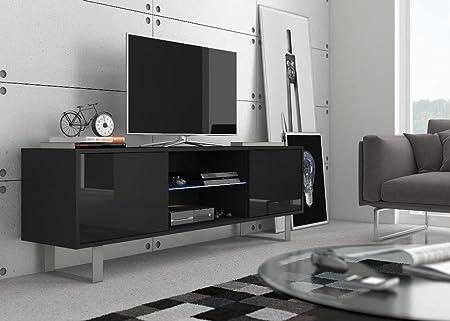 Mesa para TV MASH negro mate/ frentes negros en brillo alto con iluminación LED