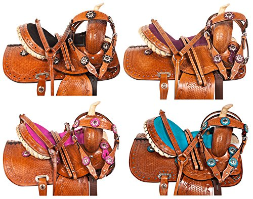youth-children-crystal-leather-hand-carved-western-pleasure-trail-show-rodeo-kids-pony-horse-saddle-
