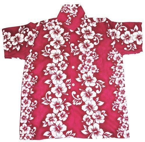 Happy Hawaiian Hut - Kinder Hemd Oritinal Blumen Hawaii Mädchen Jungen - Dunkelrosa, XL 9-11 Jahre / 134-140