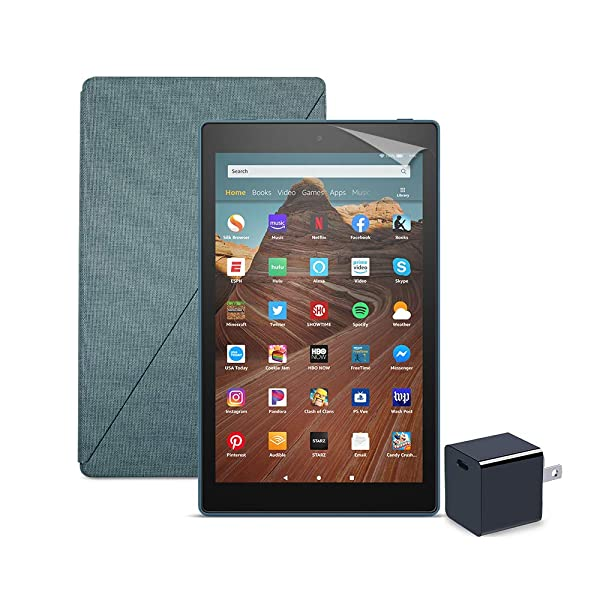 Fire HD 10 Tablet (32 GB, Twilight Blue, With Special Offers) + Amazon Standing Case (Twilight Blue) + Nupro Screen Protector (2-pack) + 15W USB-C Charger (Color: Twilight Blue)