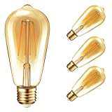 Vintage Edison Dimmable LED Light Bulbs, Palawell 7W (70 Watt Equivalent) Antique Amber Gold Filament Light Bulb, Warm Color 2400K - 30,000 Life Hours - 500 Lumens - ST64 E26 Base - UL Listed (4-Pack) (Color: Gold)