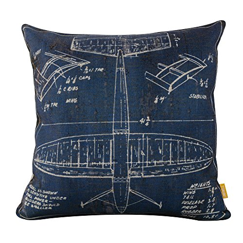 "LINKWELL 18""x18"" Shabby Chic Blue Plane Airplane Design Burlap Cushion Covers Pillow Case"