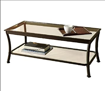 Mendocino Coffee Table Metal Glass Top Living Room Accent Furniture Storage Black