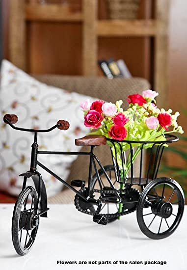 Etsibitsi Flower Vase Cycle Rickshaw Showpiece Flower Vase Big Size For Home