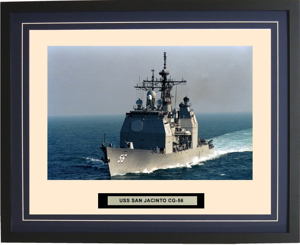 Navy Emporium - USS San Jacinto CG-56 - Framed - Photo - Engraved Ship Name - Double Mat - Photograph - 16 X 20 - 223CG56 торшер leds c4 emporium 25 1858 i1 55