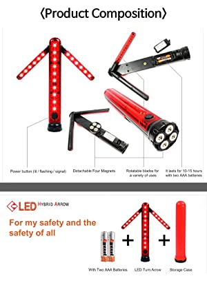 Battery Included Detachable Magnetic Unfolding Rotating blade Road Warning Beacon Emergency Car Kit LED Road Flares Safety Turn Arrow Light Emergency Roadside Flashing Flares Safety Strobe Light